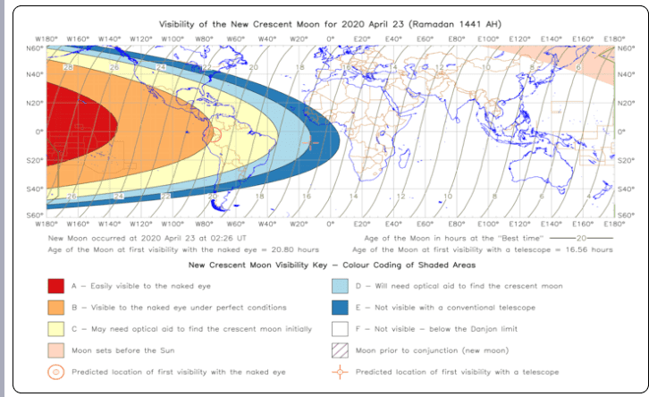 Visibility of Ramadan Moon on 2020 April 23 is low