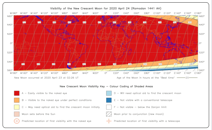Visibility of Ramadan Moon on 24th April 2020 is high